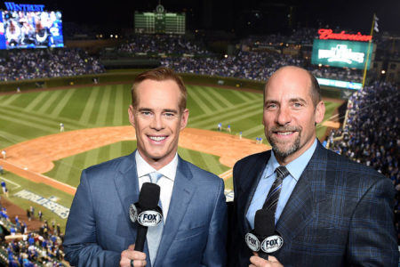 Joe Buck and John Smoltz at Wrigley Field for the 2016 World Series