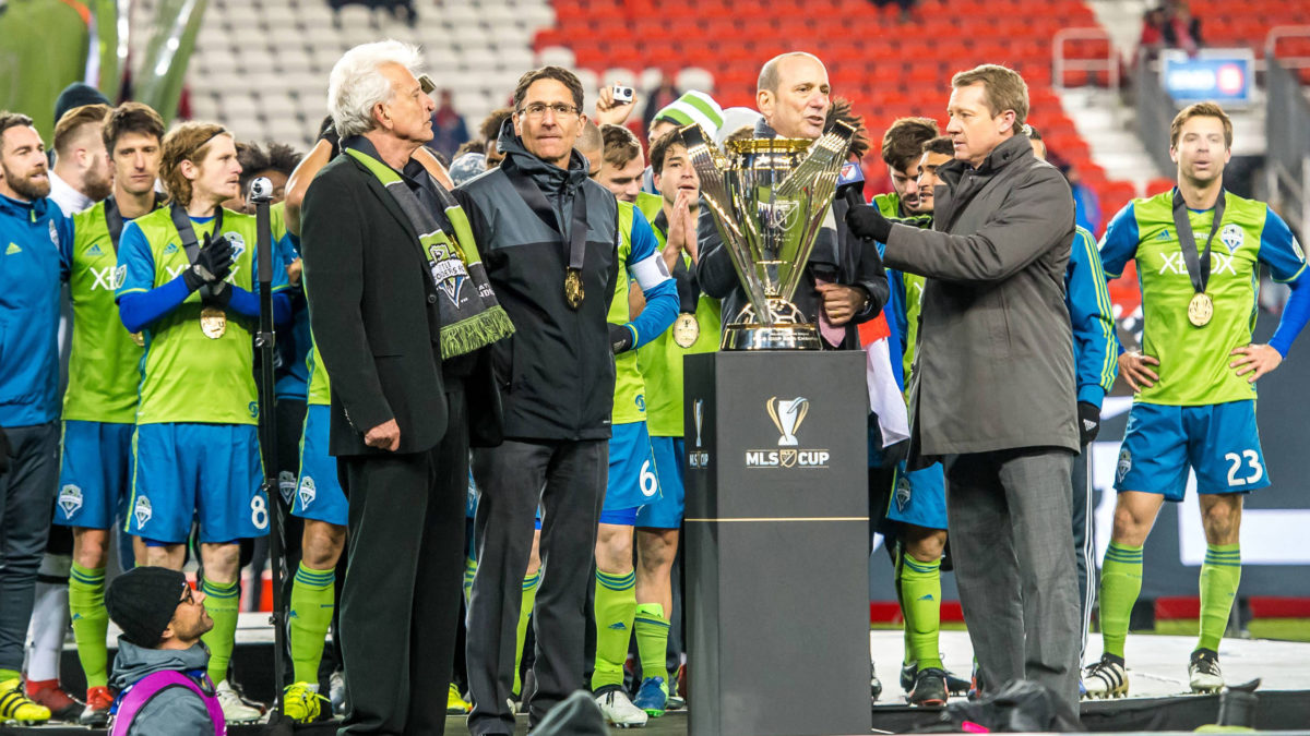 Rob Stone with 2016 MLS Cup Champions Seattle Sounders FC