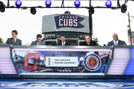 Tom Verducci, Kevin Burkhardt, Alex Rodriguez, Pete Rose and Frank Thomas On Set at Wrigley Field for the 2016 World Series