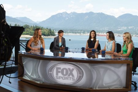 Kate Abdo, Ariane Hingst, Christine Latham, Monica Gonzalez & Heather Mitts at FOX Sports' Women's World Cup Studio in Vancouver