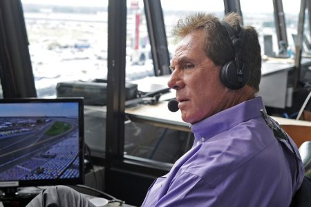 Darrell Waltrip in the Daytona International Speedway Broadcast Booth