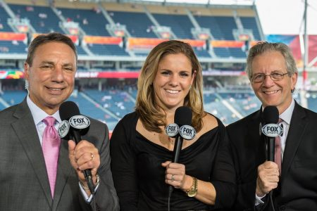 Tony DiCicco, Cat Whitehill and JP Dellacamera at the 2015 FIFA Women's World Cup
