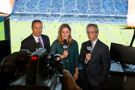Tony DiCicco, Cat Whitehill and JP Dellacamera at the 2015 FIFA Women's World Cup