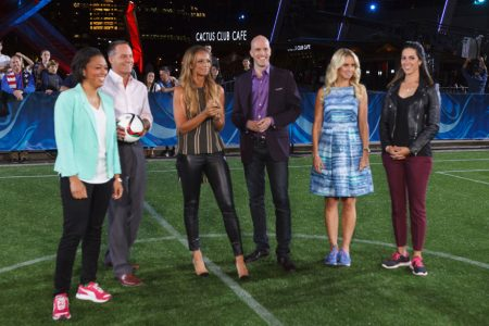 Angela Hucles, Eric Wynalda, Kate Abdo, Grant Wahl, Leslie Osborne & Monica Gonzalez on Set at the FIFA Women's World Cup