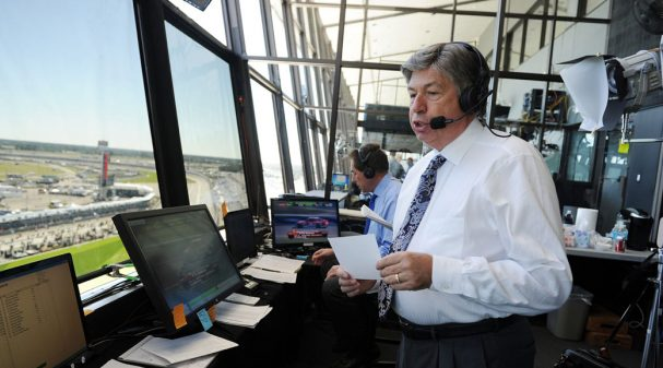 Mike Joy and Darrell Waltrip in the Daytona International Speedway Broadcast Booth