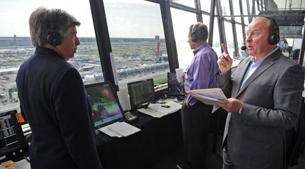 Mike Joy, Larry McReynolds & Darrell Waltrip in the Broadcast Booth