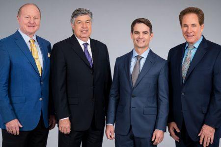 Larry McReynolds, Mike Joy, Jeff Gordon & Darrell Waltrip