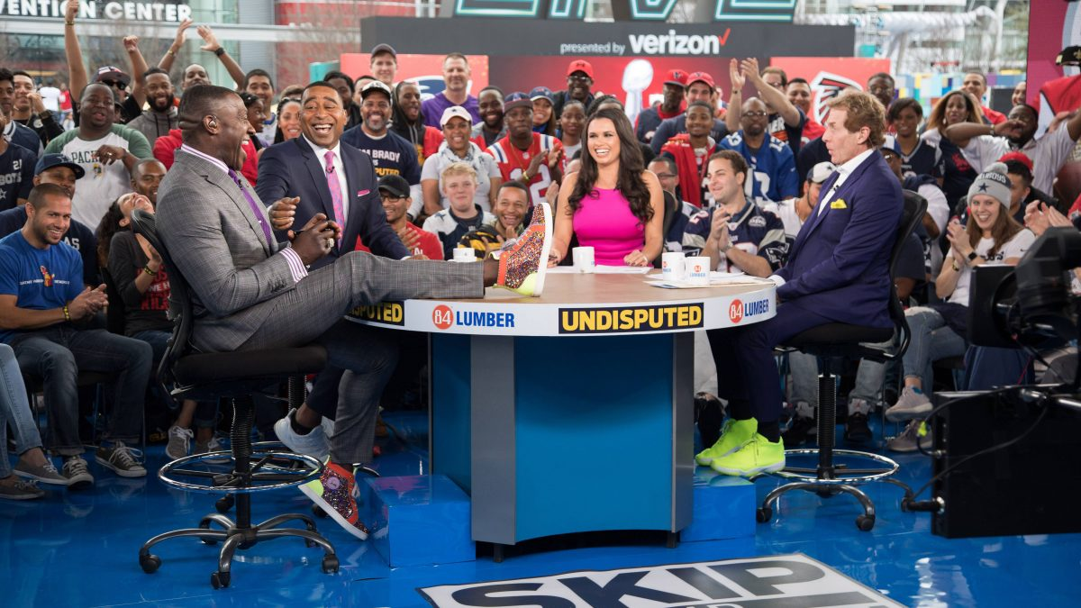 Shannon Sharpe, Cris Carter, Joy Taylor & Skip Bayless at Super Bowl LI