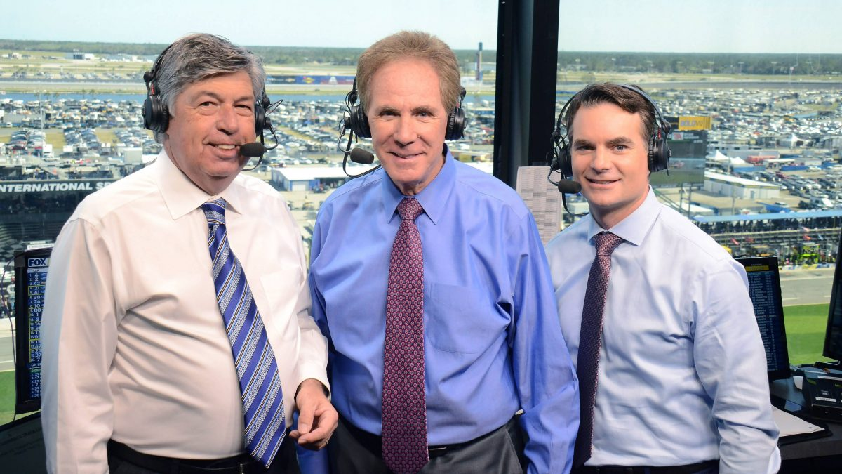 Mike Joy, Darrell Waltrip and Jeff Gordon