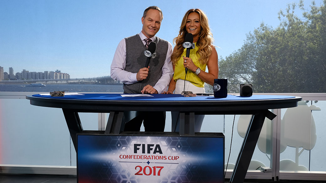 Eric Wynalda & Kate Abdo on set at FIFA Confederations Cup Russia 2017