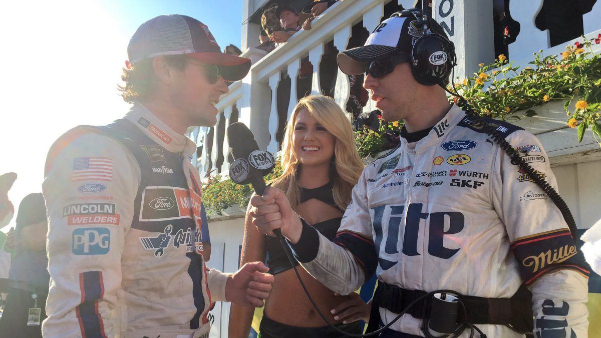 "Brad Keselowski (right) interviews MONSTER ENERGY NASCAR CUP SERIES race winner Ryan Blaney (left) during FOX Sports' ""Drivers Only"" broadcast of the Cup Series race"