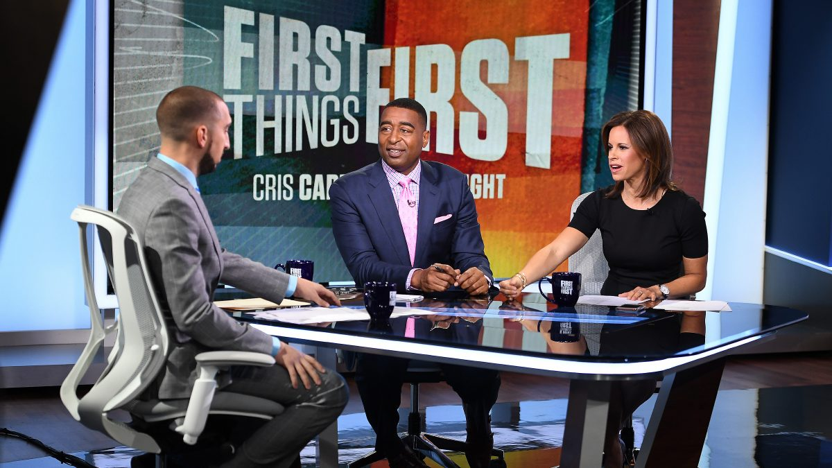 Nick Wright, Cris Carter & Jenna Wolfe on FIRST THINGS FIRST Set