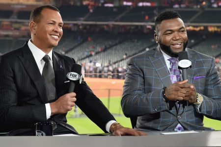 Alex Rodriguez and David Ortiz at Minute Maid Park for the 2017 World Series