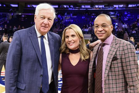 Bill Raftery, Lisa Byington and Gus Johnson at the 2018 BIG EAST Tournament