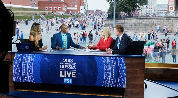 Kate Abdo, Ian Wright, Kelly Smith and Alexi Lalas at 2018 FIFA World Cup Russia™ Studio in Moscow's Red Square