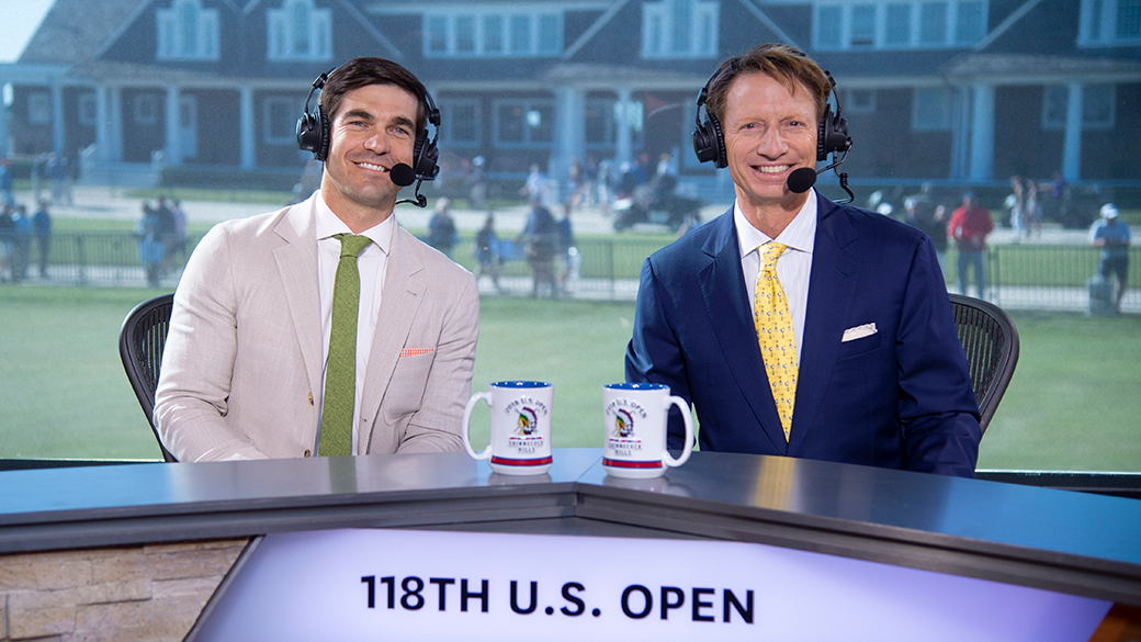 Shane Bacon and Brad Faxon at the 118th U.S. Open at Shinnecock Hills Golf Club