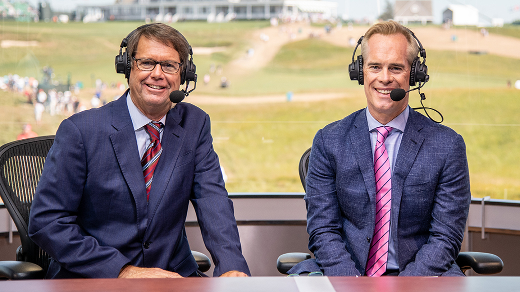 Paul Azinger and Joe Buck  at the 118th U.S. Open at Shinnecock Hills Golf Club