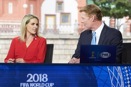 Kelly Smith and Alexi Lalas at 2018 FIFA World Cup Russia™ Studio in Moscow's Red Square