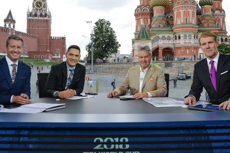 Rob Stone, Moisés Muñoz, Guus Hiddink and Alexi Lalas at 2018 FIFA World Cup Russia™ Studio in Moscow's Red Square