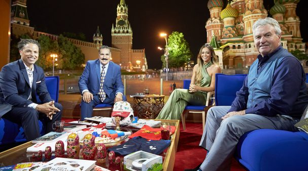 Cobi Jones, Fernando Fiore, Kate Abdo and Guus Hiddink at 2018 FIFA World Cup Russia™ Studio in Moscow's Red Square