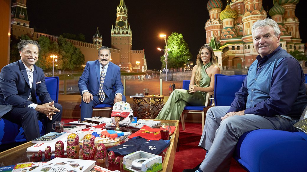 Cobi Jones, Fernando Fiore, Kate Abdo and Guus Hiddink at 2018 FIFA World Cup Russia™ Studio in Moscow's Red Square