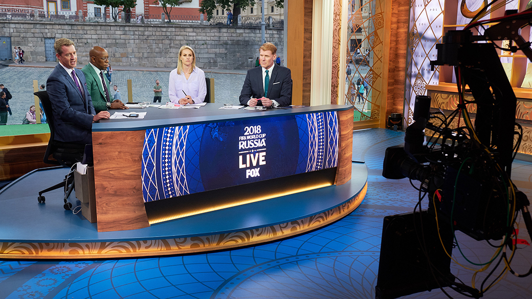 Rob Stone, Ian Wright, Kelly Smith and Alexi Lalas at 2018 FIFA World Cup Russia™ Studio in Moscow's Red Square