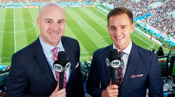 John Strong and Stu Holden at 2018 FIFA World Cup Russia™ Semifinal