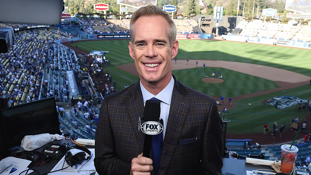 Joe Buck at Dodger Stadium for the 2018 World Series