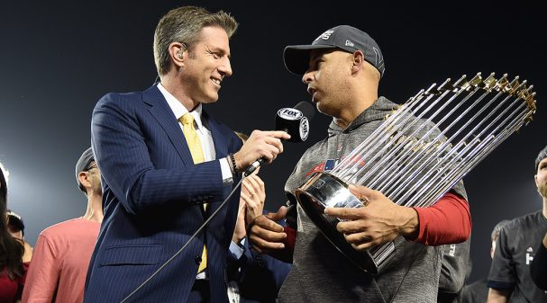 Kevin Burkhardt and Boston Red Sox Manager Alex Cora