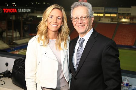 Aly Wagner and JP Dellacamera at 2019 FIFA Women's World Cup™ Qualifier