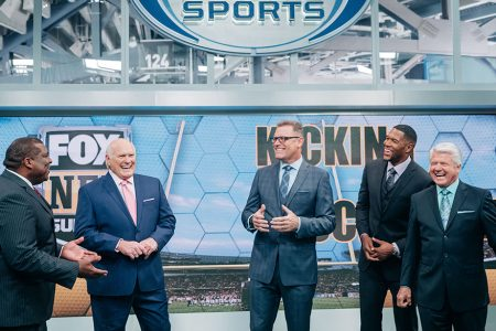 Curt Menefee, Terry Bradshaw, Howie Long, Michael Strahan and Jimmy Johnson