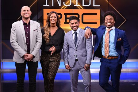 Mike Coppinger, Kate Abdo, Abner Mares and Shawn Porter on INSIDE PBC BOXING Set