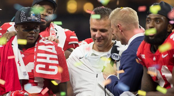 INDIANAPOLIS, IN - DECEMBER 01: Head coach Urban Meyer of the Ohio State Buckeyes speaks to the fans after winning the Big Ten Championship against the Northwestern Wildcats at Lucas Oil Stadium on December 1, 2018 in Indianapolis, Indiana. (Photo by Justin Casterline/Getty Images)