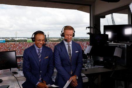 Gus Johnson and Joel Klatt at the 2018 Red River Showdown
