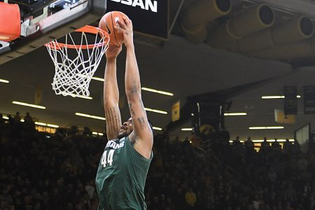 IOWA CITY, IA. - JANUARY 24: Michigan State forward Nick Ward (44) dunks a shot in the first half during a Big Ten Conference basketball game between the Michigan State Spartans and the Iowa Hawkeyes on January 24, 2019, at Carver-Hawkeye Arena, Iowa City, IA. (Photo by Keith Gillett/Icon Sportswire via Getty Images)