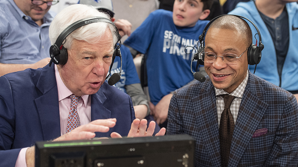 Bill Raftery and Gus Johnson at the 2019 BIG EAST Tournament