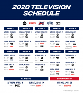 Full XFL TV Schedule_2020