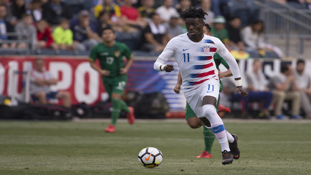 CHESTER, PA - MAY 28: Tim Weah #11 of the United States controls the ball during the friendly soccer match against Bolivia at Talen Energy Stadium on May 28, 2018 in Chester, Pennsylvania. (Photo by Mitchell Leff/Getty Images)