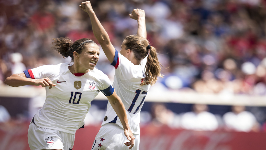 HARRISON, NJ - MAY 26: Captain Carli Lloyd #10 of United States celebrates scoring goal during the International Friendly match the U.S. Women's National Team and Mexico as part of the Send Off Series prior to the FIFA Women's World Cup at Red Bull Arena on May 26 2019 in Harrison, NJ, USA. The United States Women's National team won the match with a score of 3 to 0.  (Photo by Ira L. Black/Corbis via Getty Images)
