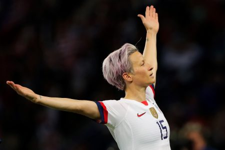 PARIS, FRANCE - JUNE 28:  Megan Rapinoe of the USA celebrates after scoring her team's second goal during the 2019 FIFA Women's World Cup France Quarter Final match between France and USA at Parc des Princes on June 28, 2019 in Paris, France. (Photo by Marianna Massey - FIFA/FIFA via Getty Images)