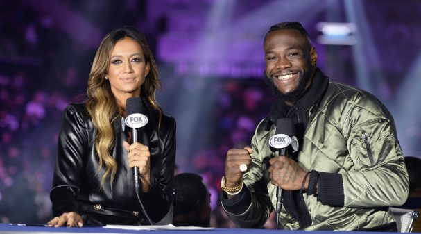"""BROOKLYN, NY - DECEMBER 22:  (L-R) Sportscaster Kate Abdo interviews professional american boxer Deontay Wilder as they attend the Fox Sports and Premier Boxing Champions  December 22 """"PBC on Fox"""" Fight Night at the Barclays Center on December 22, 2018 in Brooklyn, New York. (Photo by Anthony Behar/Fox Sports/PictureGroup)"""
