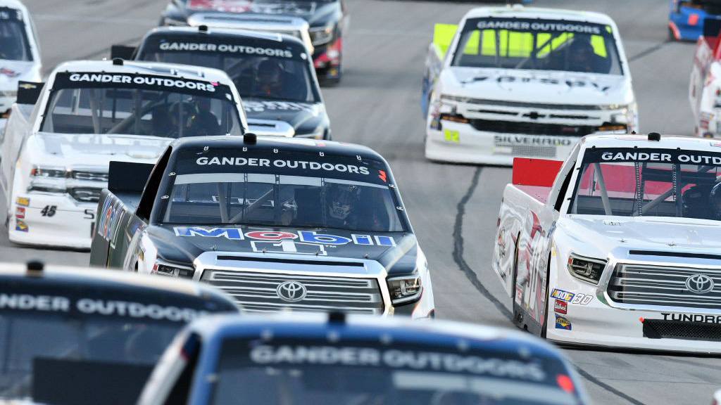 SPARTA, KY - JULY 11: The field of trucks work their way down the front stretch during the NASCAR Gander Outdoors Truck Series Buckle Up In Your Truck 225 on July 11, 2019, at Kentucky Speedway in Sparta, Kentucky. (Photo by Michael Allio/Icon Sportswire via Getty Images)