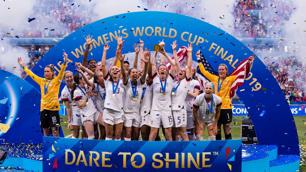 LYON, FRANCE - JULY 07: USA players celebrating with the winners trophy during the 2019 FIFA Women's World Cup France Final match between The United State of America and The Netherlands at Stade de Lyon on July 7, 2019 in Lyon, France. (Photo by Marcio Machado/Getty Images)
