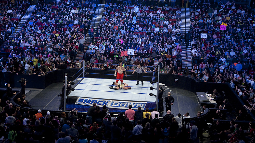 Umaga gloats to the throngs of fans after having brutally defeated his opponent during a WWE Smackdown event at Rose Garden arena in Portland. (Photo by Chris Ryan/Corbis via Getty Images)