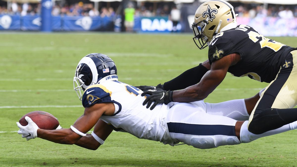 LOS ANGELES, CA - SEPTEMBER 15: Los Angeles Rams Wide Receiver Robert Woods (17) makes a diving catch just in front of the end zone during an NFL game between the New Orleans Saints and the Los Angeles Rams on September 15, 2019, at the Los Angeles Memorial Coliseum in Los Angeles, CA. (Photo by Brian Rothmuller/Icon Sportswire via Getty Images)