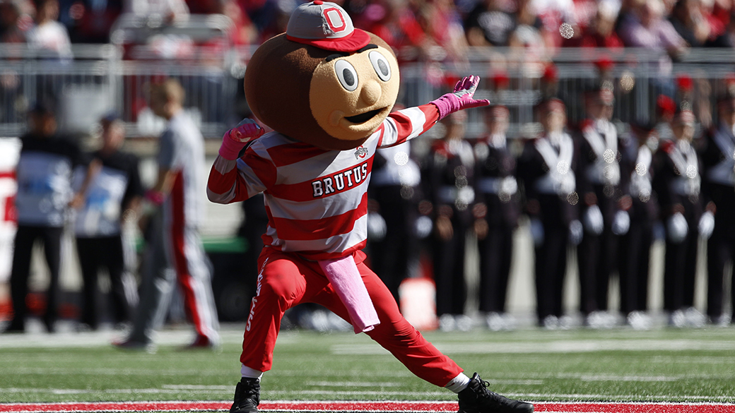 08 October 2016:  Brutus the Buckeye shows his spirit for his team prior to the start of the game between the Indiana Hoosiers and the Ohio State Buckeyes at Ohio Stadium in Columbus, Ohio. (Photo by Khris Hale/Icon Sportswire via Getty Images)