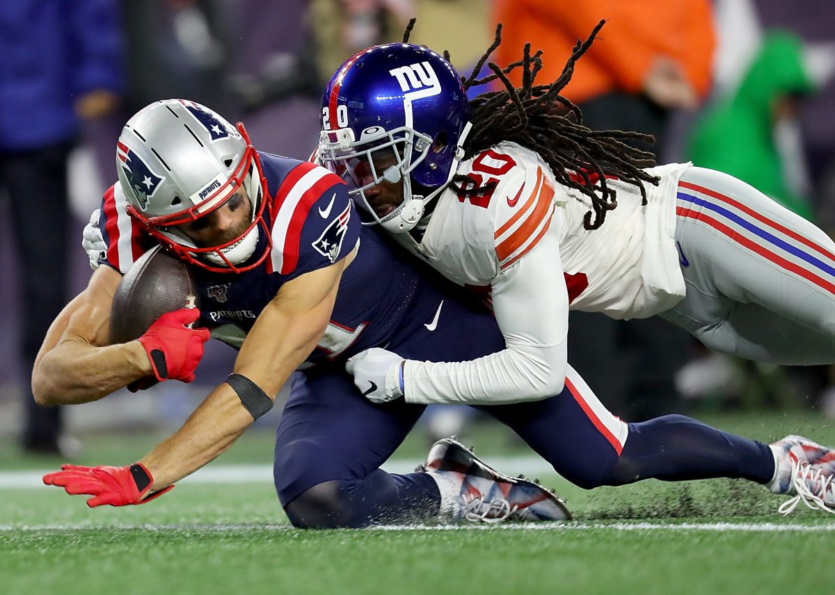 FOXBOROUGH, MASSACHUSETTS - OCTOBER 10: Julian Edelman #11 of the New England Patriots catches a 36 yard pass against the New York Giants during the fourth quarter in the game at Gillette Stadium on October 10, 2019 in Foxborough, Massachusetts. (Photo by Maddie Meyer/Getty Images)