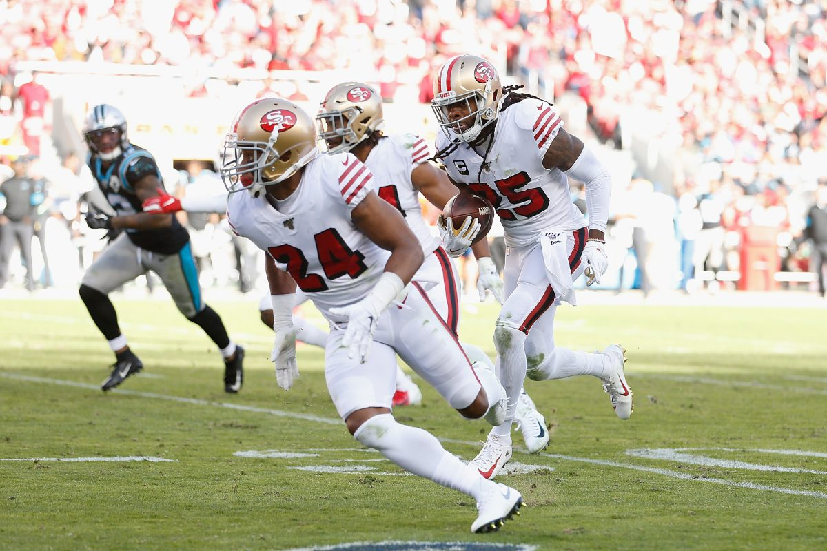 SANTA CLARA, CALIFORNIA - OCTOBER 27: Richard Sherman #25 of the San Francisco 49ers runs the ball back toward the end zone after making an interception in the second half against the Carolina Panthers at Levi's Stadium on October 27, 2019 in Santa Clara, California. (Photo by Lachlan Cunningham/Getty Images)