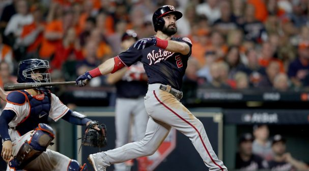 HOUSTON, TEXAS - OCTOBER 29:  Adam Eaton #2 of the Washington Nationals hits a solo home run against the Houston Astros during the fifth inning in Game Six of the 2019 World Series at Minute Maid Park on October 29, 2019 in Houston, Texas. (Photo by Elsa/Getty Images)