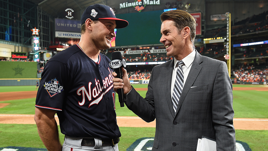 Tom Verducci with Ryan Zimmerman at 2019 World Series